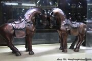 China Royal Palace Fengshui Copper Bronze Zodiac Year Horse Animal Statue Pair