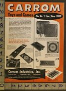 1954 Carrom Board Wood Game Ludington Comet Model Airplane 2-pg Toy Ad Tt69