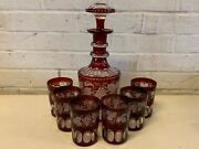 Antique Bohemian Cranberry Glass Decanter And 6 Tumblers With Grape Decorations