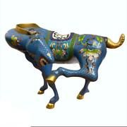Vintage Chinese Cloisonne Blue Gold Tone Horse Small Figurine 6.5