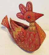 Antique Folk Art Bird Whimsy Pillow Pin Cushion Sewing Notion / Toy
