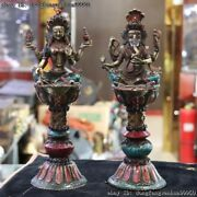Old Copper Inlay Turquoise 4 Arm Kwan-yin Elephant God Butter Lamp Candlestick