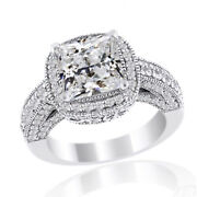 Square Simulated Diamond Halo Antique Band Ring In Solid 14k White Gold