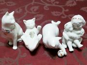 Lenox China Jewels Collection Set Of 3 Cats And Teddy's Tired Young Girl