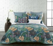 Coverlet Modern Bedspread 100 Cotton No Polyester King Green Tropical 3pce Set