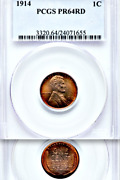 1914 Pcgs Pr64 Rd Mintage 1,365 Lovely Red Matte Proof Lincoln Wheat Cent Key 1c