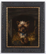 Henriette Ronner-knip-attrib. Yorkshire Terrier In His Kennel Oil Painting