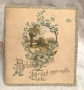 Nister Shaped Victorian Chromolithograph Book Peep-through Cover Forget-me-nots