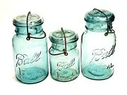 Lot Of 3 Ball Ideal Blue Green Canning Jars W/lid And Wire Bail 2 Quarts 1 Pint