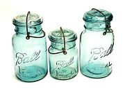 💲 Lot Of 3 Ball Ideal Blue Green Canning Jars W/lid And Wire Bail 2 Quarts 1 Pint