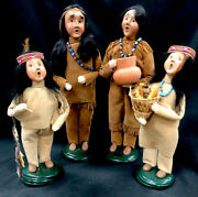 Vintage Byers Choice Ltd The Carolers Set Of 4 Native American Indian