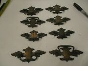 8 Antique Fancy Brass Plated Dangling Furniture Drawer Cabinent Handles Pulls