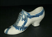 Exc. Outstanding Blue And White Figural Stoneware Shoe - Midwestern - Salt Glaze
