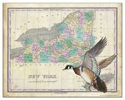 Wood Duck Hunting New York State Map Art Print Vintage Calls Decoys Wall Decor
