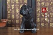 Black Rosewood Wood Hand Carved Fengshui Chinese Zodiac Animals Dog Puppy Statue