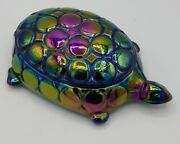Westmoreland Carnival Glass Thousand Eye Turtle Covered Dish Cigarette Box Mint