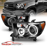 [led Halo]for 2007-2014 Toyota Tundra/sequoia Projector Black Headlights