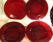 5 Vintage Depression Ruby Red Glass Dinner Plates 9 Round
