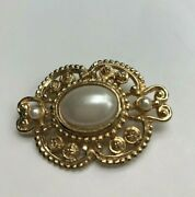 Victorian Broach Pin Gold Tone And Faux Pearl Cabochon And Seed Pearl Vintage