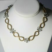 Vintage Signed Germany Gold Tone And Clear Rhinestone Flowers Chain Necklace