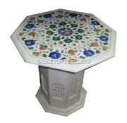 24 Marble Coffee Table Top With 18 Grill Stand Lapis Floral Inlay Decors W046
