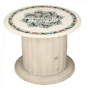 24and039and039 White Marble Coffee Table Top With Stand Inlay Mosaic Arts Home Decor H3547