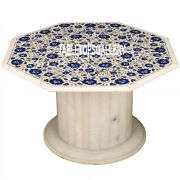 31and039and039 White Marble Coffee Lapis Table Top With Stone Inlay Kitchen Decor H3543