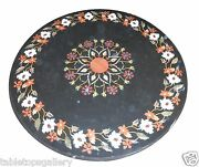 3and039x3and039 Black Marble Dining Round Table Top Marquetry Inlay Mosaic Work Art H1517