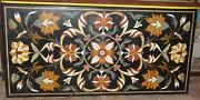 2.5and039x5and039 Black Marble Center Dining Table Top Precious Floral Inlay Hallway Decor