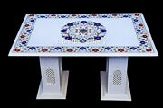 3and039x2and039 Marble Top Dining Table With 14 Grill Stand Lapis Floral Inlay Decor W609