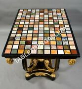 4and039x3and039 Black Rectangle Table Top Multi Mosaic Inlay Art Furniture Decors E611a