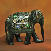 9and039and039 Marble Green Elephant Figurine Floral Decor Collectible Home Gifts Art H3770