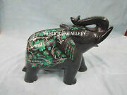 6 Black Marble Elephant Statue Malachite Inlay Mosaic Floral Decor Gifts H2526