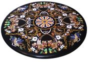 30 Black Marble Coffee Round Table Top Pietra Dura Inlay Room Home Decor H1579