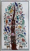 26x48 Marble Table Top Multi Floral And Parrot Inlay Living Room Home Decor W229