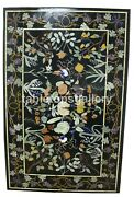 4and039x2.5and039 Marble Top Dining Table Multi Birds And Fruits Inlay Christmas Decor B694