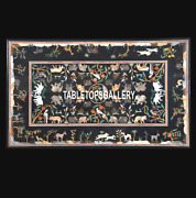 Black Marble Rare Dining Center Table Top Animals Art Inlaid Kitchen Decor H3674