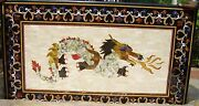 Exclusive Marble Dining Table Top Real Gems Dragon Art Mosaic Inlay Decor H2066a