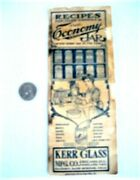 Recipe Booklet Recipes For Canning - Kerr Glass Co. C.1910 Fruit Jars On Cover