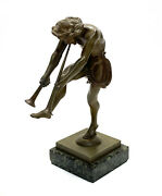 Continental Bronze Miniature Figurine- Fawn Playing Horn Instrument, 19th Cent.