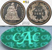 1867 Pcgs Pr65 Cam Cac 6,000 Minted + 625 Proof = Lowest 10c ✅ Cameo Seated Dime