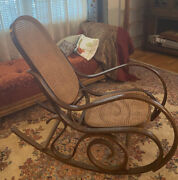 Vintage Bentwood Rocking Chair Rocker Cane Italy Mid Century Modern Thonet Style