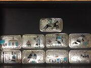 Antique Navajo Sterling Silver And Inlay Stone 9 Piece Belt Buckle Set, Signed Bb