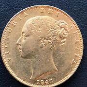 1845 Great Britain Victoria 22kt Gold Sovereign In Xf Hard To Find Date