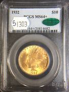 1932 10 Indian Head Gold Eagle Pcgs Graded-ms64+, With Cac Sticker