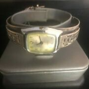 Vintage Sterling Silver Etched 7in. Bracelet With Timex Watch By Fleming