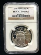 2011-w 1oz 100 Platinum American Eagle Proof Coin Ngc Pf-70 Ultra Cameo