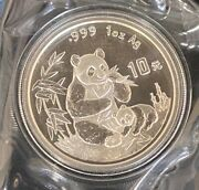 1996 Chinese 10 Yuan 1ozt Silver Panda, Large Date Version, Ogp, Better Date