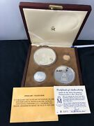 1987 Mexico Mint Salute The Us Constitution 4 Coin Silver And Gold Proof Set W/coa