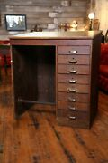 Antique Drafting Table 8 Drawer Wood Desk Industrial File Cabinet With Footrest